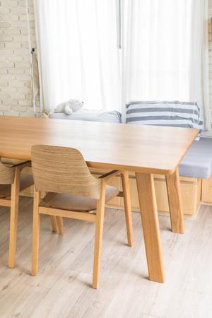 luxury living room: wood dinning table interior decoration Stock Photo