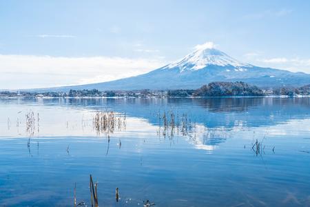 winter sunrise: Mountain Fuji San at  Kawaguchiko Lake in Japan.