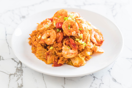 fried rice with korea spicy sauce and shrimps - korean food style