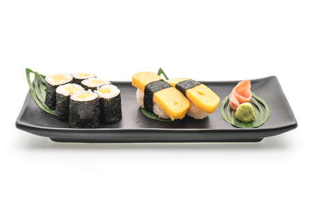 scrambled: sweet egg nigiriand maki sushi - japanese food style on white background