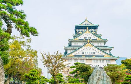 beautiful architecture at Osaka castle in Osaka Japan