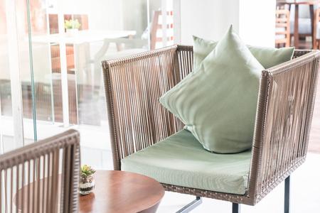 luxury living room: Beautiful luxury pillow on sofa decoration in living room interior Stock Photo