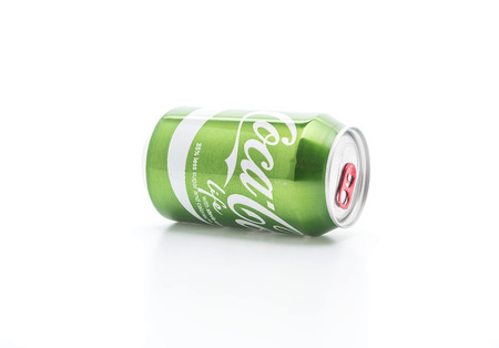 Bangkok, Thailand - April 4, 2017: Coca Cola can in the new green Life edition with lower amount of calories. Coca Cola is one of the worlds bestselling soft drink ever.