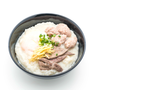 rice porridge with pork and egg on white background