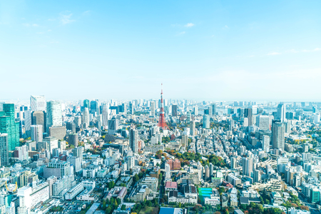 Tokyo city skyline with Tokyo Tower, Tokyo Japan Stock Photo