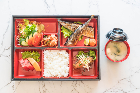grille: grilled saba bento - japanese food style