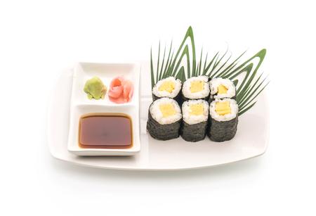 sweet egg maki (tamago) - japanese food style on white background Stock Photo