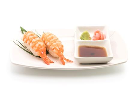 shrimp sushi nigiri - japanese food style on white background