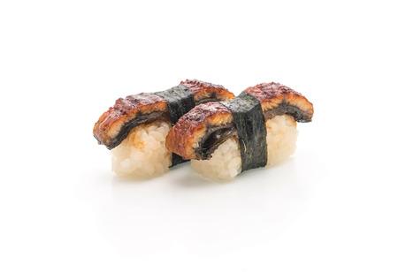 eel nigiri sushi - japanese food style on white background Stock Photo