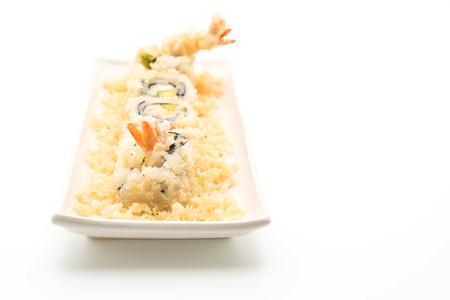 tempura shrimp sushi roll - japanese food style on white background