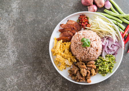 Rice Mixed with Shrimp paste - Thai traditional food Stock Photo