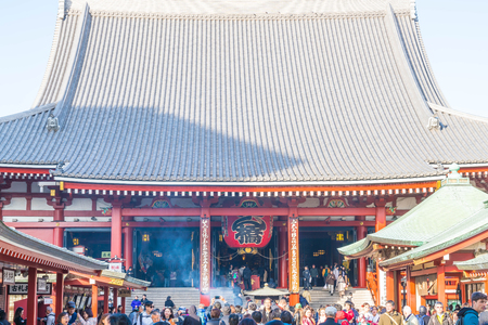 TOKYO-NOV 28: Crowded people at Buddhist Temple Sensoji on November 28, 2016 in Tokyo, Japan. The Sensoji temple in Asakusa area is the oldest temple in Tokyo.