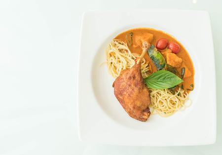 macarrones: spicy penne with fried duck - fushion food