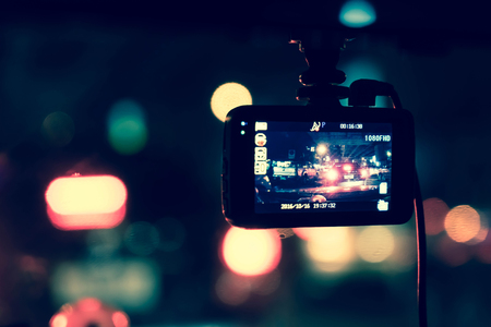 recorder camera op auto - vintage effect filter Stockfoto