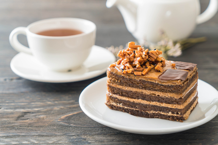 coffee toffee cake with tea