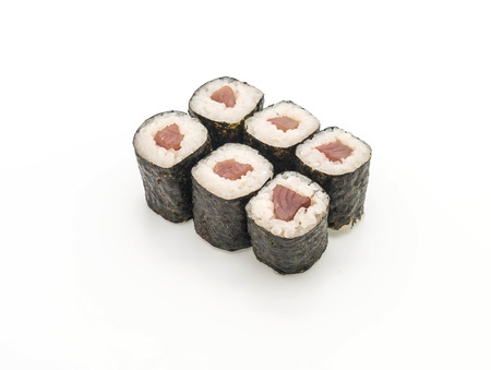 red snapper maki sushi- japanese food style on white background Stock Photo
