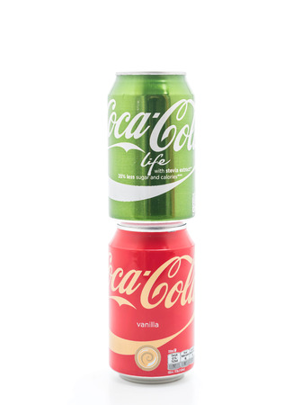cola canette: Bangkok, Thailand - April 4, 2017: Coca Cola Vanilla and Coca Cola in the new green Life edition with lower amount of calories. Coca Cola is one of the worlds bestselling soft drink ever. Éditoriale