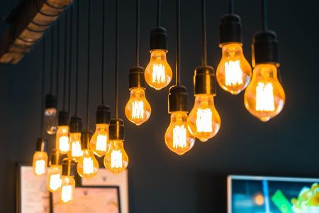 Beautiful retro luxury light lamp decor glowing in cafe