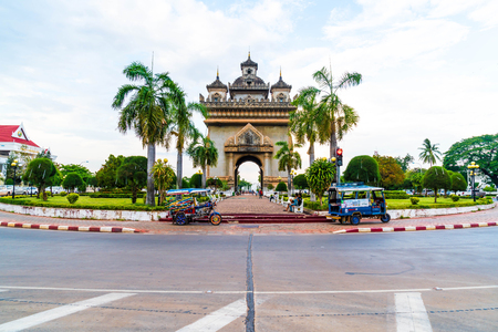 literally: Vientiane, Laos - May 12 2017 : Beautiful architecture at Patuxay Monument in Vientiane, Laos. Editorial