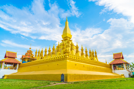 Beautiful Architecture at Pha That Luang,Vientiane, Laos. Pha That Luang is a gold-covered large Buddhist stupa and be the most important national monument in Laos.