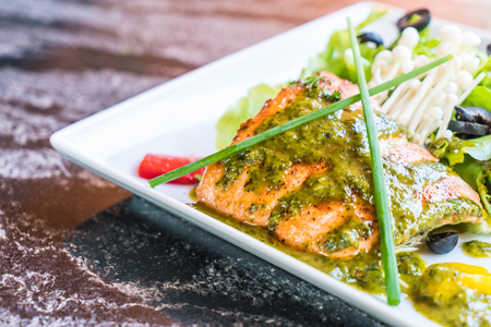 grilled salmon steak with salad Stock Photo