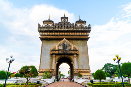 Beautiful architecture at Patuxay Monument in Vientiane, Laos.