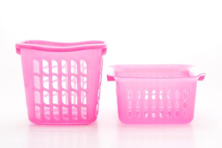pink plastic basket isolated on white background