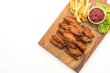 dipping: fried chicken wings isolated on white background