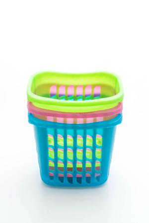 colorful plastic basket isolated on white background