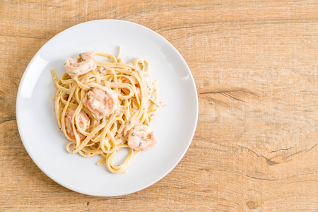 fettuccini pasta with shrimp - Italian food style Stock Photo
