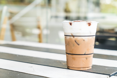 mocca: iced mocca coffee in coffee shop Stock Photo