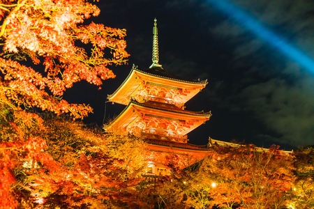 Beautiful Architecture in Kiyomizu-dera Temple Kyoto, Japan at night Editorial