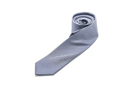 beautiful grey necktie isolated on white background