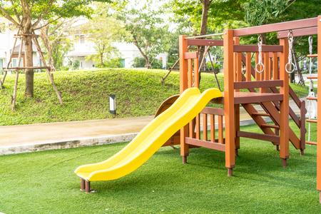 Children kid playground with toy and slider Stok Fotoğraf - 80339041