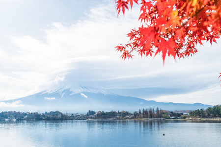 Mountain Fuji San with cloudy at Kawaguchiko Lake in Japan.