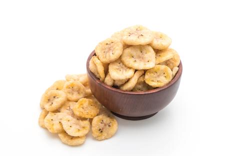 platanos fritos: banana crispy chips isolated on white background