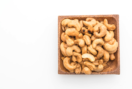Roasted cashew nuts isolated on white background