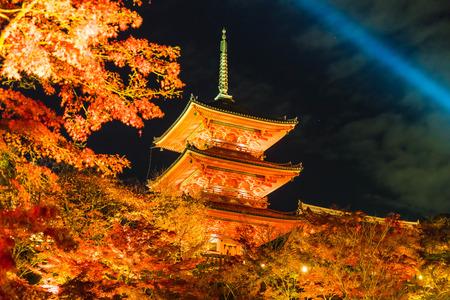 Beautiful Architecture in Kiyomizu-dera Temple Kyoto, Japan at night Editorial