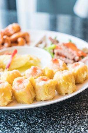 Chinese Orderve - chinese food style on white plate Stock Photo