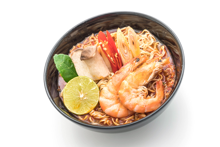 Spicy instant noodles soup with shrimp (tom yum) isolated on white background