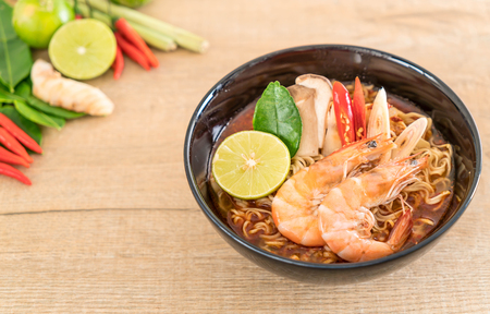 Spicy instant noodles soup with shrimp (tom yum) Stock Photo