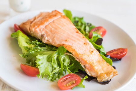 grill: grilled salmon steak with salad Stock Photo