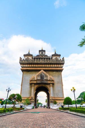 literally: Beautiful architecture at Patuxay Monument in Vientiane, Laos.