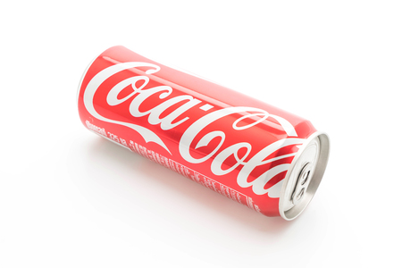 illustrative editorial: Bangkok, Thailand - May 22, 2017: A can of Coca Cola drink isolated over a plain white background. Coca-Cola is a carbonated soft drink sold in stores, restaurants, and vending machines worldwide. Editorial