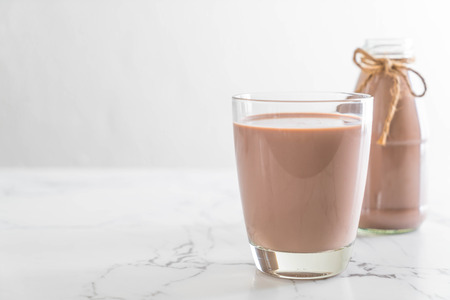 glass of chocolate milk on the table