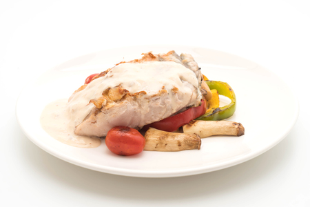 grilled snapper fish steak with vegetable isolated on white background