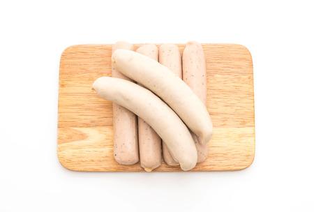weisswurst: bratwurst sausage isolated on white background