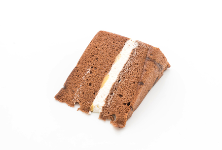 chocolate chiffon cake isolated on white background Stock Photo