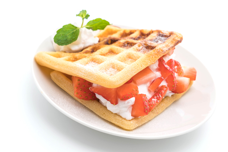 waffle with strawberry on white background
