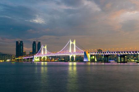 Gwangan Bridge with beautiful sky in Busan City , South Korea.